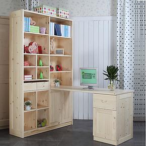 七彩人生儿童家具 转角儿童书桌书架组合 连体学生电脑桌书柜组合