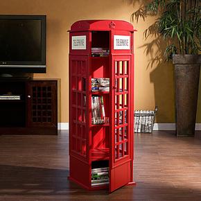 特价英伦风复古红色电话亭CD书柜宜家书架儿童储物收纳陈列小柜子