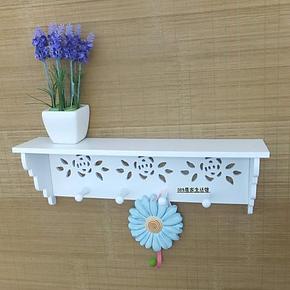 创意玫瑰花壁挂田园花架镂空搁板书架木质隔板墙壁置物架层架挂钩