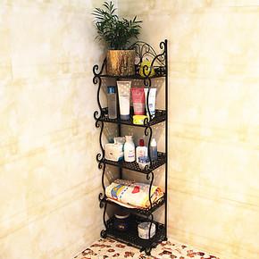 铁艺浴室置物架毛巾架落地式阳台收纳架卧室书架储物架花架杂志架