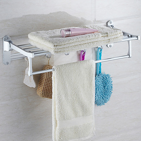 百家百饰 浴巾架 毛巾架 太空铝 浴室 折叠型带五活动钩 浴室挂件