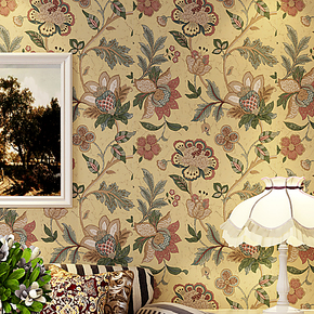 卡斯尼壁纸美式田园乡村东南亚卧室客厅背景无纺布复古墙纸壁纸