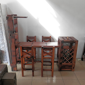 老船木酒吧台 酒架吧台 船木酒柜吧台 住宅吧台椅 个性吧台桌吧椅