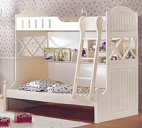 韩式床田园床双人床高低床子母床板式床梯柜木质床上下铺特价白色