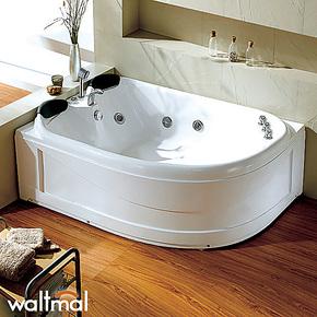 沃特玛 亚克力双人扇形按摩冲浪浴缸压克力浴盆浴池 正品特价包邮