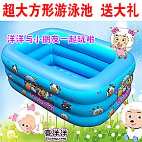 全国包邮 方形婴儿宝宝儿童充气游泳池波波池泡泡双层底可作浴缸
