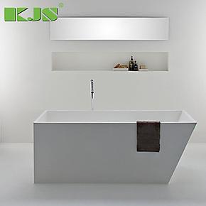 1.6米人造石浴缸 白色方形 复合亚克力浴缸 精工玉石时尚豪华浴缸