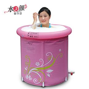水美颜高档折叠浴桶充气浴缸加厚成人浴盆浴桶 洗澡桶泡澡桶保温