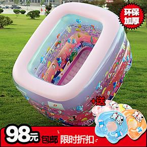 香港乐亲婴儿充气游泳池宝宝水池加厚双排水婴婴幼儿浴缸包邮