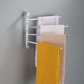 居臣仕 太空铝活动杆4杆四杆浴室挂件 加厚型 毛巾架 旋转毛巾挂