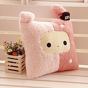 包邮抱枕可爱靠垫 枕头空调被毯暖手两用办公室靠枕 U枕兔子 送女