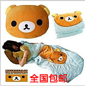 包邮卡通轻松小熊公仔空调被两用被子抱枕 大号枕头被子 汽车靠垫