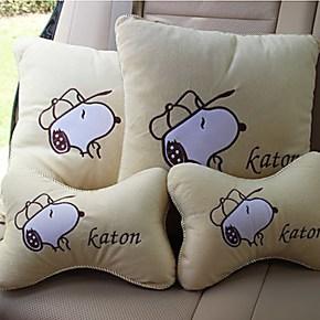 汽车用品汽车头枕抱枕车用办公靠枕 冰丝骨枕车枕 史努比流氓兔