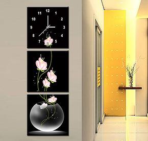 特价72折包快竖款客厅水晶膜无框画静音艺术挂钟田园三联画多款选