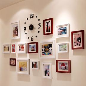 15框照片墙 相框墙组合 创意欧式混搭 时尚DIY 带挂钟相片墙 送双