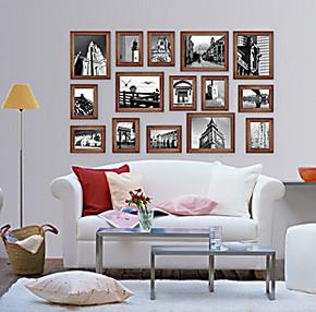 照片墙 实木相片墙 15框带挂钟时尚相框墙 相框组合创意 生活照片