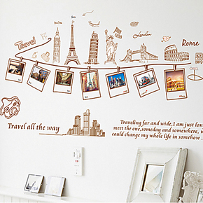 环球旅行照片相册 客厅沙发背景贴 卧室儿童房墙贴纸 创意家居贴