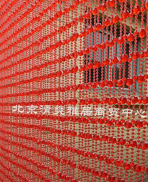 亚克力仿水晶珠子门帘 风水隔断 塑料珠帘 红 90宽46根 特价包邮