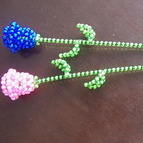 珠编手工艺成品亚克力A料散珠串珠穿珠珠帘 玫瑰 摆件饰品