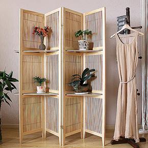 乐迎迎细木条编织四扇带隔板中式折叠屏风隔断时尚镂空玄关门特价