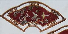 仿古实木框壁画扇形客厅玉画天然玉石壁画扇形岁寒三友玉画玉屏风