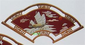 仿古红木玉画客厅装饰画天然玉石壁画扇形一帆风顺玉画玉屏风壁屏