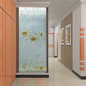 11026荷花-艺术玻璃 玄关隔断 工艺玻璃屏风 背景墙玻璃 现代风格