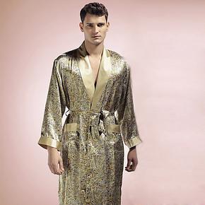 品牌正品100%真丝睡袍男士桑蚕丝睡袍艺尔长袖浴袍真丝睡衣秋季