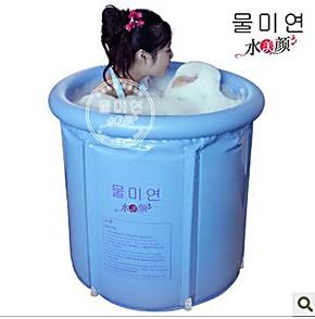 正品小号水美颜 折叠浴桶 充气浴缸 塑料沐浴泡澡桶 浴盆送保温垫