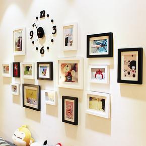 照片墙 相框墙相框组合 创意15框挂钟时尚 实木相片墙 客厅大墙面