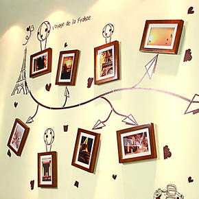 松木实木照片墙相片墙相框墙组合 客厅画框墙框送画心 旅行的记忆