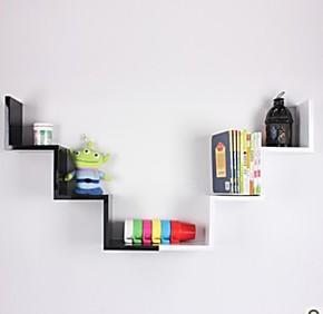 置物架 壁挂 W形百搭隔板 壁柜 书架 适合客厅 卧室 厨房 书房