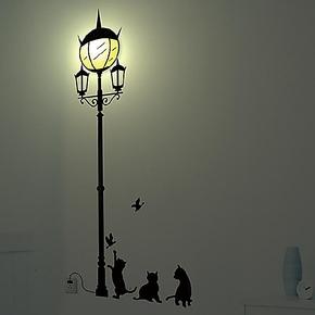 diy墙贴灯 3D壁灯 装饰灯 创意路边灯 儿童房壁纸灯 卧室床头壁灯