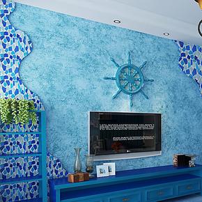 卡斯尼环保壁纸地中海风情墙纸复古蓝色情调字母壁纸卧室客厅书房