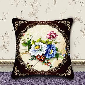 美岸3D十字绣抱枕  新品复古花卉 客厅沙发靠枕靠垫