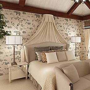东南亚风格无纺仿刺绣大象墙纸 床头卧室 客厅背景壁纸 特价