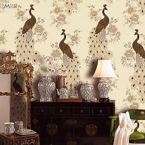 东南亚孔雀王国仿刺绣花鸟壁纸 现代中式无纺布墙纸 客厅卧室背景