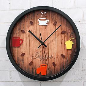 休闲时光 时尚简约挂钟 咖啡壶时钟表 酒吧 餐厅装饰壁钟 石英钟