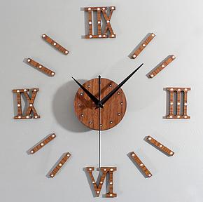 欧式复古贵族立体金属铆钉DIY时钟 创意木头挂钟表 桃木罗马数字
