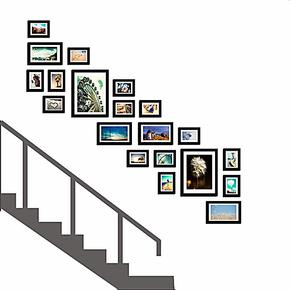 现代楼梯照片墙实木相框照片墙装饰墙相片墙大相框组合特价包邮