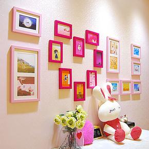 新款欧式环保结婚照片墙17拼相片框创意组合卧室客厅爱心墙包邮潮