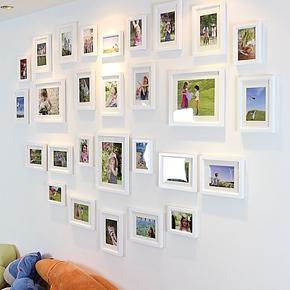 28框心型照片墙 实木欧式心形照片墙组合 爱心婚纱照相片墙 包邮
