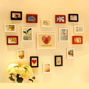 浪漫爱心形照片墙 创意实木相框墙组合 餐厅相片墙儿童房送2模板