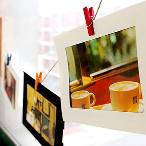 复古照片墙相片墙组合 韩国6寸diy纸质悬挂宝宝创意麻绳夹子相框