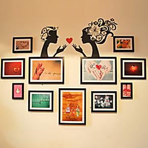 包邮创意墙贴相框墙艺术相框组合相片墙心型照片墙婚纱照挂墙相框