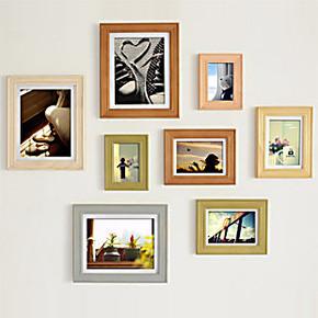 爱飞8Q实木相框组合 照片墙 艺术相框 实木照片墙
