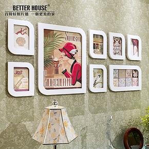 新款实木照片墙 8框相框墙组合 创意婚纱艺术写真照相片墙包邮