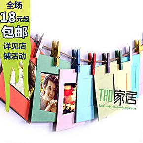 韩式个性DIY麻绳悬挂纸相框 照片墙 3寸彩色纸质相框墙带夹子麻绳