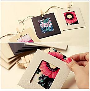韩式DIY麻绳悬挂纸相框照片墙 6寸彩色纸质相框墙带夹子麻绳9枚入