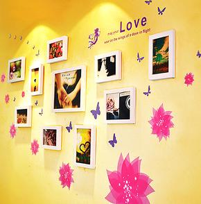 照片墙 相框墙 彩色可移除墙贴相片墙照片墙墙组合创意电视背景墙